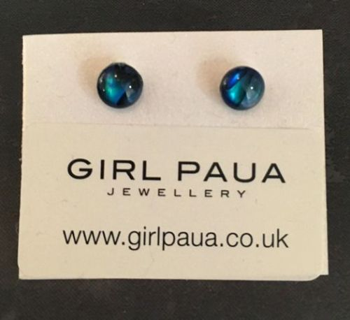 Paua Stud Earrings PE04 6mm BLUE CIRCLE (x small-2)